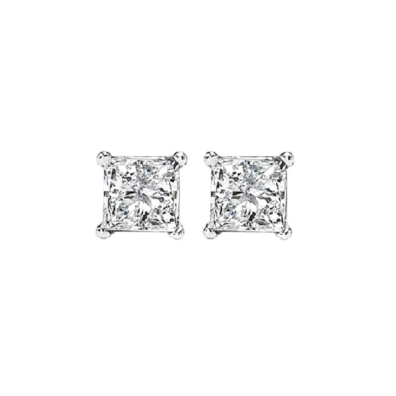 Gemsone 14K P/Cut Diamond Studs 1/3 ctw