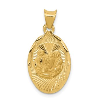 14k Polished and D/C Baptism Oval Pendant