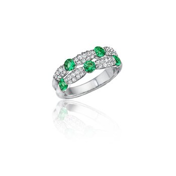 Major Moves Emerald and Diamond Double Row Ring