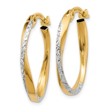 14K w/White Rhodium Textured and Polished Oval Hoop Earrings