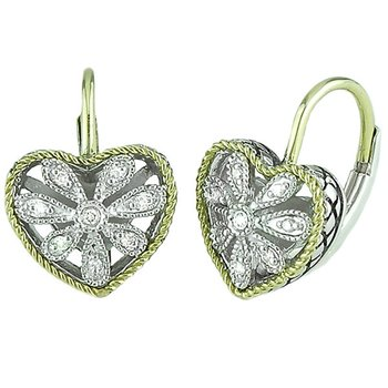 18kt and Sterling Silver Heart Antique Flower Diamond Euro Wire Earrings