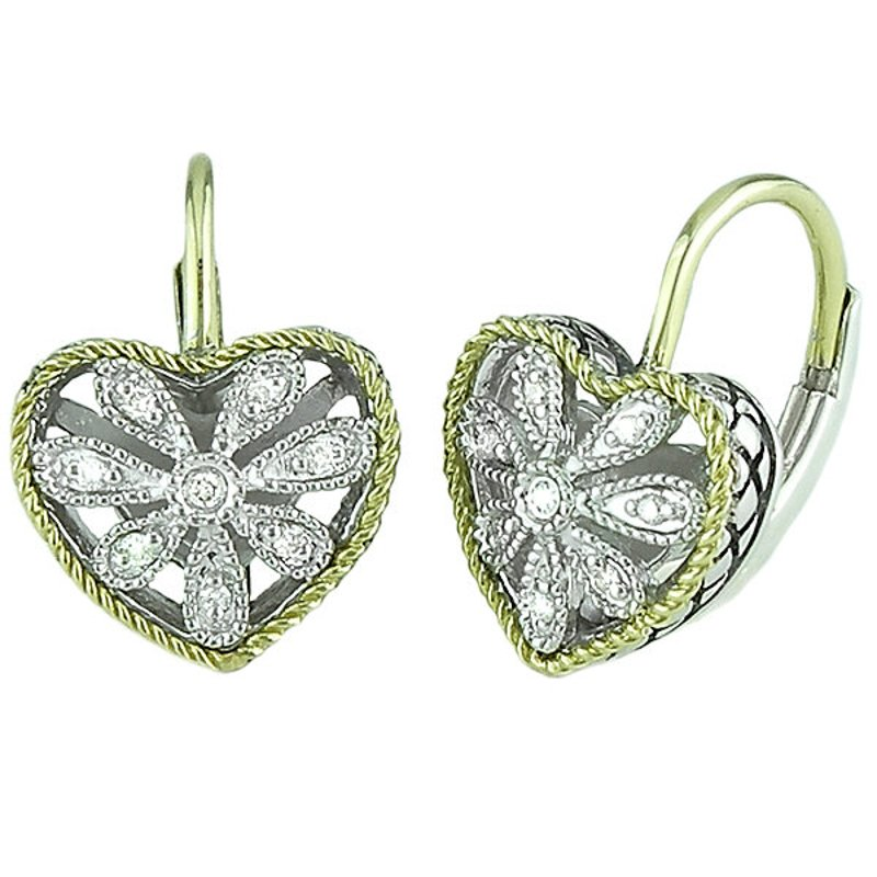 Andrea Candela 18kt and Sterling Silver Heart Antique Flower Diamond Euro Wire Earrings