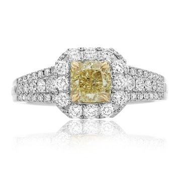Cushion Cut Single Halo Yellow Diamond Ring