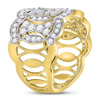 14kt Yellow Gold Womens Round Diamond Overlapping Ovals Fashion Ring 1-1/3 Cttw