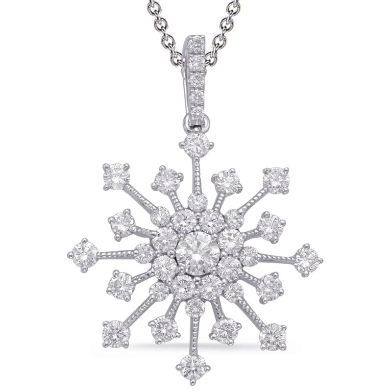 S. Kashi  & Sons White Gold Snowflake Diamond Pendant