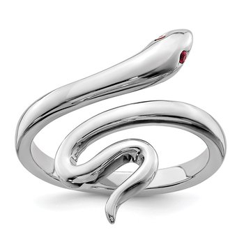 Sterling Silver Rhodium-plated Snake w/Synthetic Ruby Toe Ring