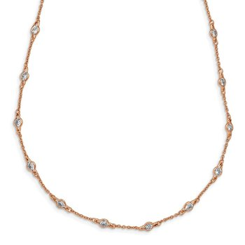 Cheryl M Sterling Silver Rose Gold Plated Fancy CZ Station Necklace
