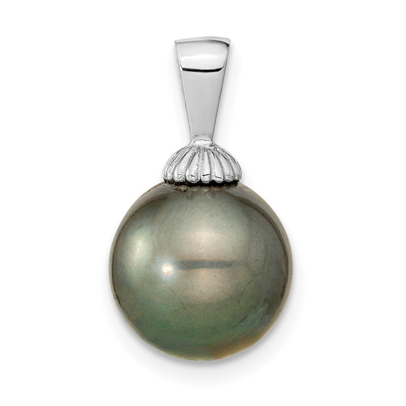 Quality Gold 14k WG 10-11mm Black Round Saltwater Cultured Tahitian Pearl Pendant
