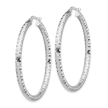 14k White Gold 3x35mm Diamond-cut Hoop Earrings