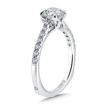 Solitaire Engagement Ring with Side Stones in 14K White Gold (1ct. tw.)