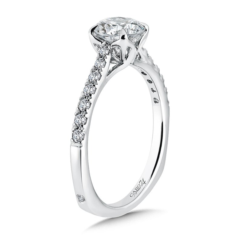 Caro74 Solitaire Engagement Ring with Side Stones in 14K White Gold (1ct. tw.)