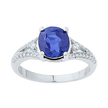 10kt White Gold Womens Oval Lab-Created Blue Sapphire Solitaire Diamond Ring 2-1/2 Cttw