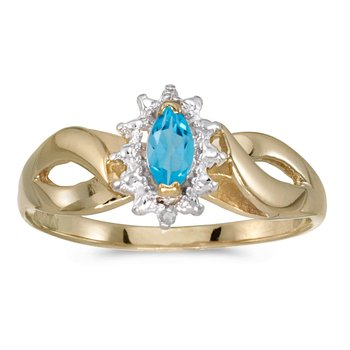10k Yellow Gold Marquise Blue Topaz And Diamond Ring