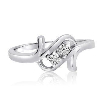 14K White Gold Twist Two-Stone Diamond Ring