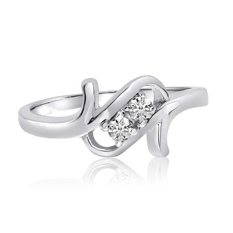 Color Merchants 14K White Gold Twist Two-Stone Diamond Ring