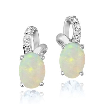 White Gold Opal & Diamond Earrings
