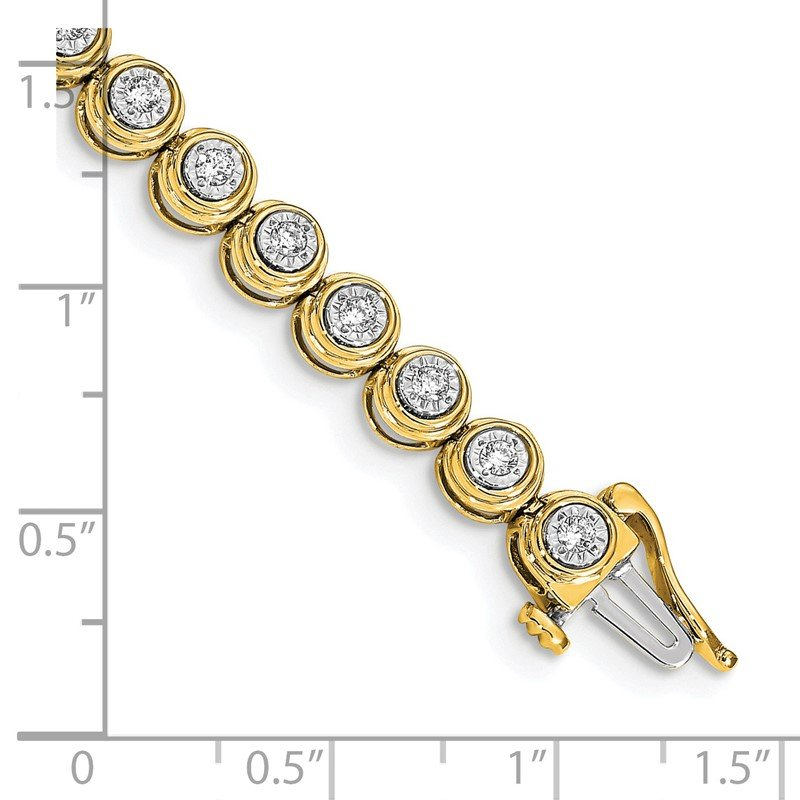 Quality Gold 14k White Gold Diamond Circle Link Bracelet