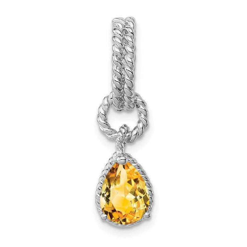 Quality Gold Sterling Silver Rhodium Citrine Pear Twisted Pendant