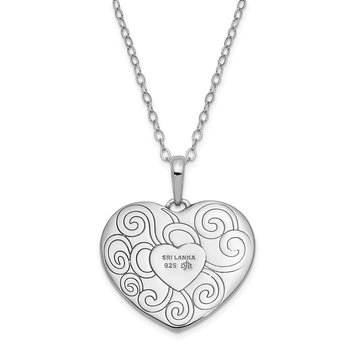 Sterling Silver Antiqued In My Heart 18in. Necklace