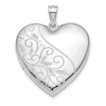 Sterling Silver Rhodium-plated 24mm Scrolled Ash Holder Heart Locket