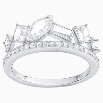 Henrietta Ring, White, Rhodium plating