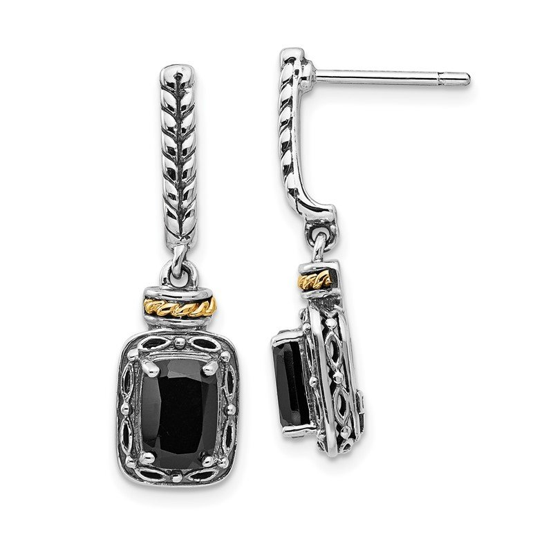 Quality Gold Sterling Silver w/14k Antiqued Onyx Post Dangle Earrings
