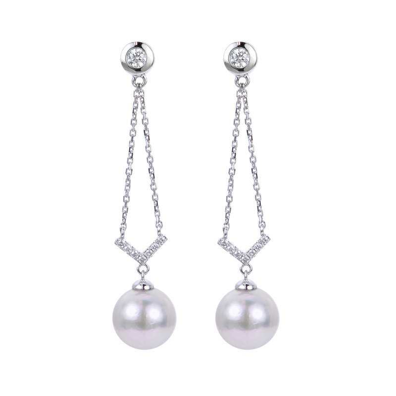 Imperial Pearl 14K White Gold Akoya Pearl Earrings