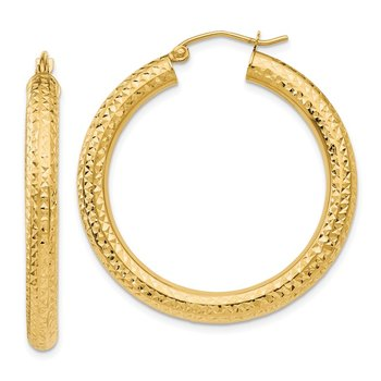14k Diamond-cut 4mm Round Hoop Earrings