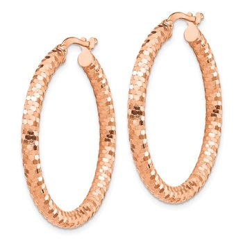 14k Rose Gold 3x25mm Diamond-cut Hoop Earrings