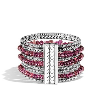 Classic Chain 37MM Multi Row Bracelet in Silver with Gemstone