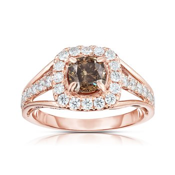 1.50ctw Rose Gold Engagement Ring with  .90ct Cushion Cut Natural Mocha Center