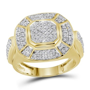 10kt Yellow Gold Mens Round Diamond Circle Cluster Ring 1/2 Cttw