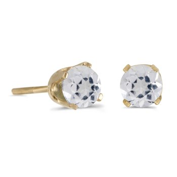 4 mm Round White Topaz Screw-back Stud Earrings in 14k Yellow Gold