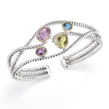 Sterling Silver and 14K/Y Semi-Precious Stones Bangle
