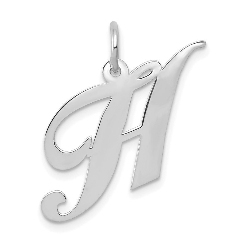 JC Sipe Essentials 14K White Gold Medium Fancy Script Letter H Initial Charm