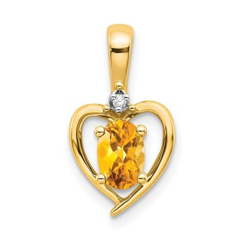 14k Citrine and Diamond Heart Pendant