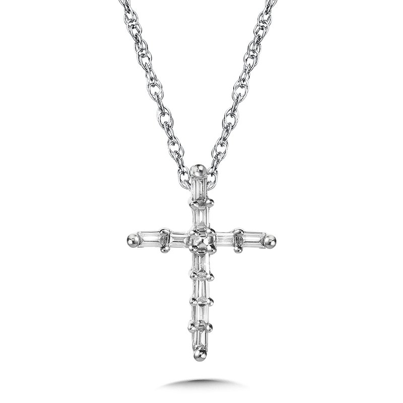 SDC Creations 10K Prong-Set Baguette Diamond Cross Pendant