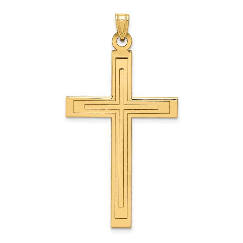 Quality Gold 14k Solid Laser Etched Cross Pendant