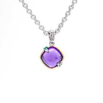 18kt and Sterling Silver Amethyst, Emerald & Diamond Pendant with Chain