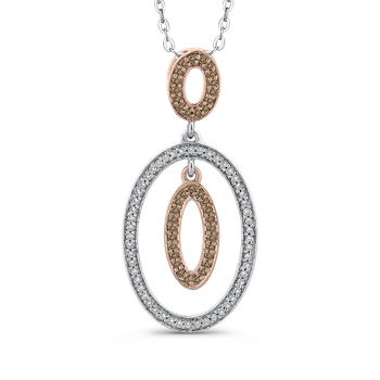 10K White & Rose Gold 1/4 Ct Brown and White Diamond Fashion Pendant with Chain