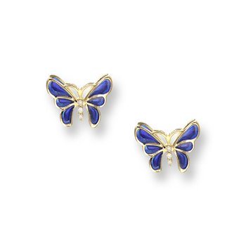 Blue Butterfly Stud Earrings.18K -Diamonds - Plique-a-Jour