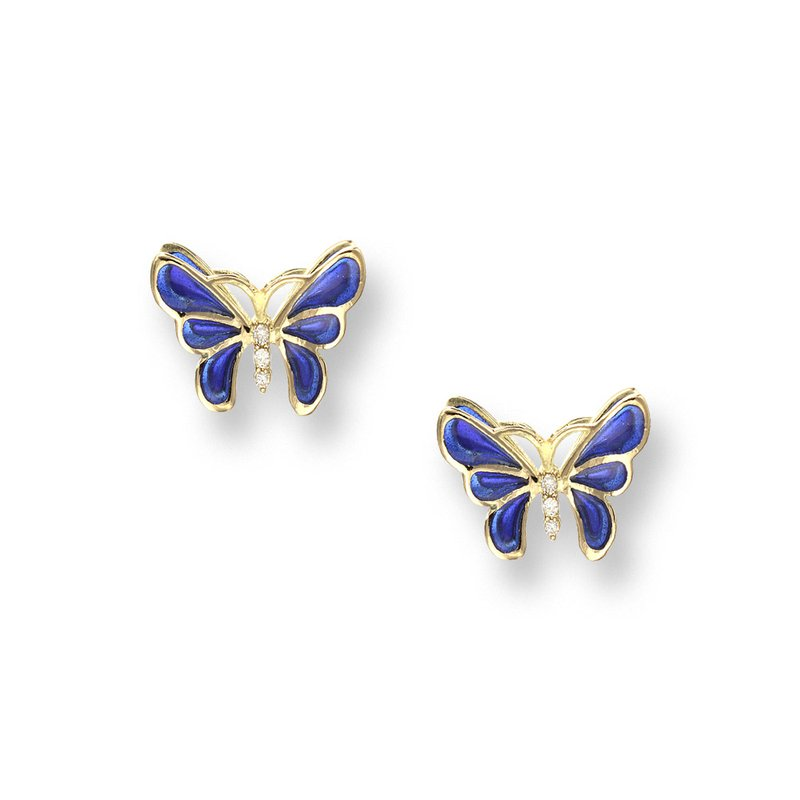 Nicole Barr Designs Blue Butterfly Stud Earrings.18K -Diamonds - Plique-a-Jour