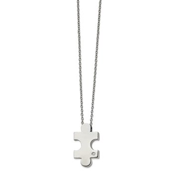 Stainless Steel Polished w/CZ Puzzle Piece 16in w/2.5in ext. Necklace