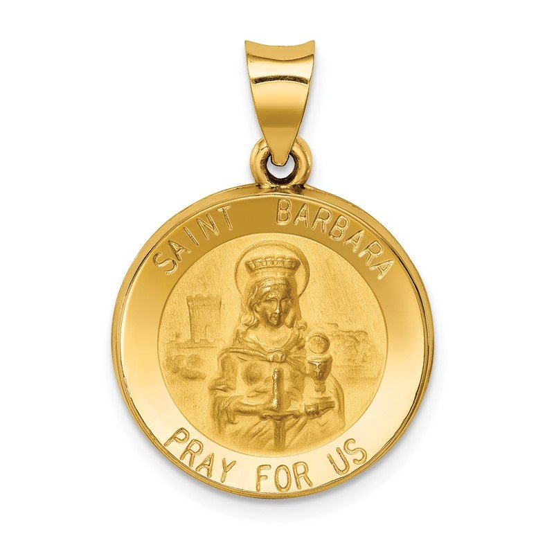 Quality Gold 14k Polished and Satin St. Barbara Medal Hollow Pendant