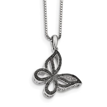 Sterling Silver Rhod Plated Black Diamond Butterfly Pendant Necklace