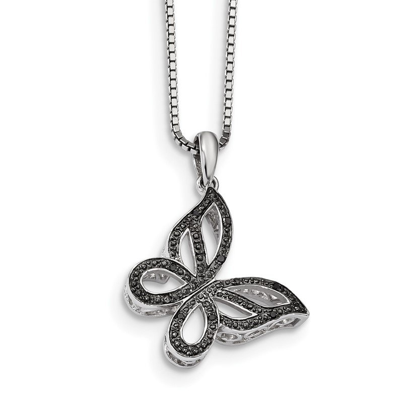 Lester Martin Online Collection Sterling Silver Rhod Plated Black Diamond Butterfly Pendant Necklace