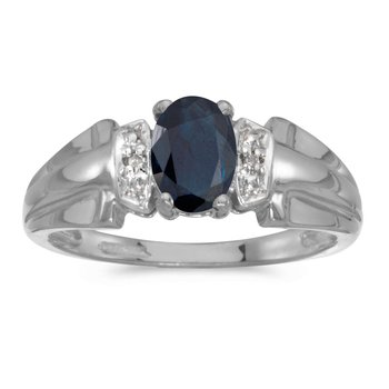 10k White Gold Oval Sapphire And Diamond Ring