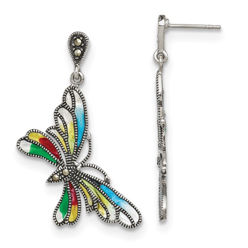 Quality Gold Sterling Silver Marcasite and Multi Color Epoxy Butterfly Earrings