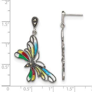 Sterling Silver Marcasite and Multi Color Epoxy Butterfly Earrings