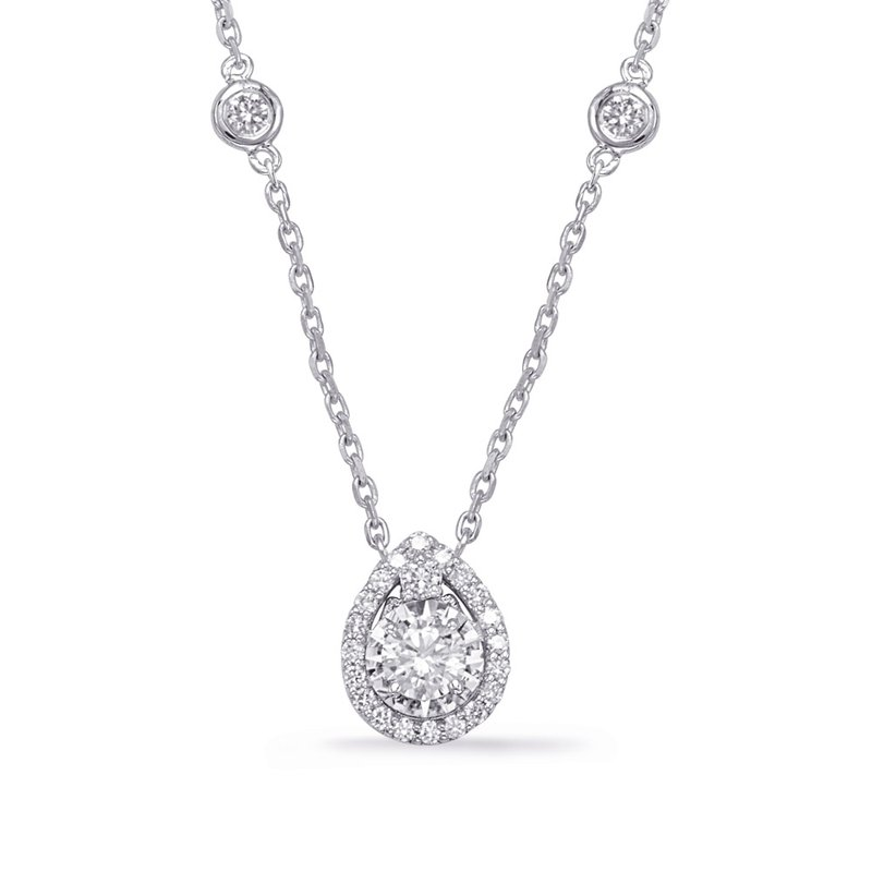 Briana White Gold Halo Diamond By The Yard Neck